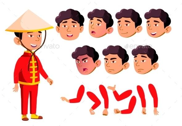 Asian Boy, Child, Kid, Teen Vector. School - People Characters
