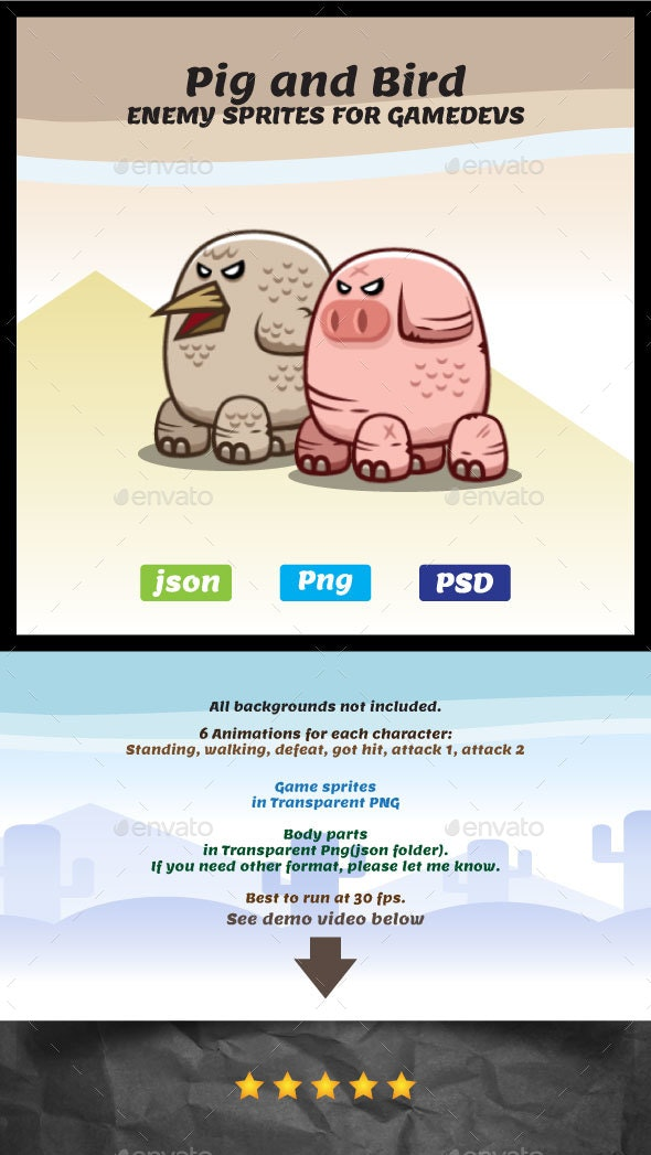 Pig and Bird Monster Sprites | Enemy Game Characters - Sprites Game Assets