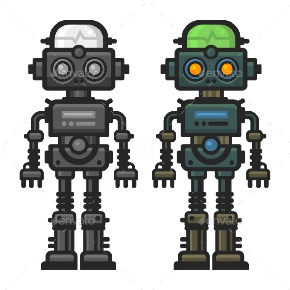 Old Flat Style Robot Set on White Background - Miscellaneous Characters