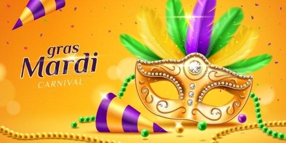 Mardi Gras Parade Banner with Masquerade Mask - Miscellaneous Seasons/Holidays