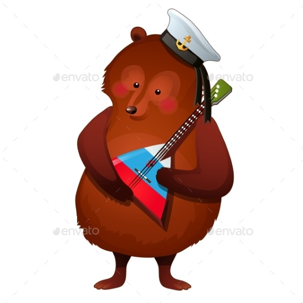 Brown Bear in a Sailor Hat Holds an Instrument - Animals Characters