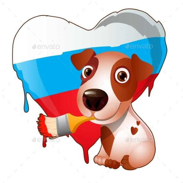 Animated Dog Brush Painted Heart of Russia - Animals Characters
