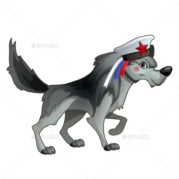 Gray Forest Wolf in a Sailor Hat with a Ribbon - Animals Characters