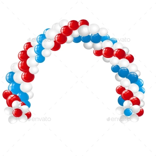 Arc Made of White Red and Blue Balloons Isolated - Man-made Objects Objects