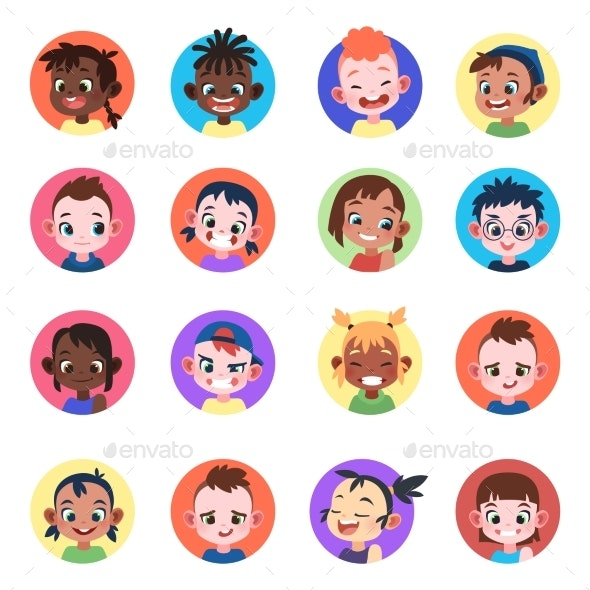 Children Avatar. Faces Childhood Cute Kids Boys - People Characters
