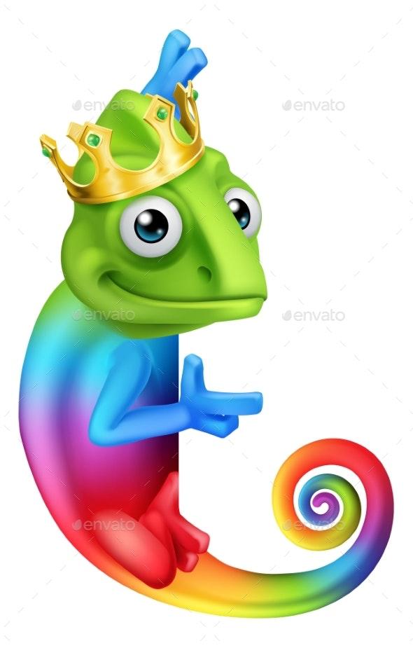 Chameleon King Crown Cartoon Lizard Character - Animals Characters