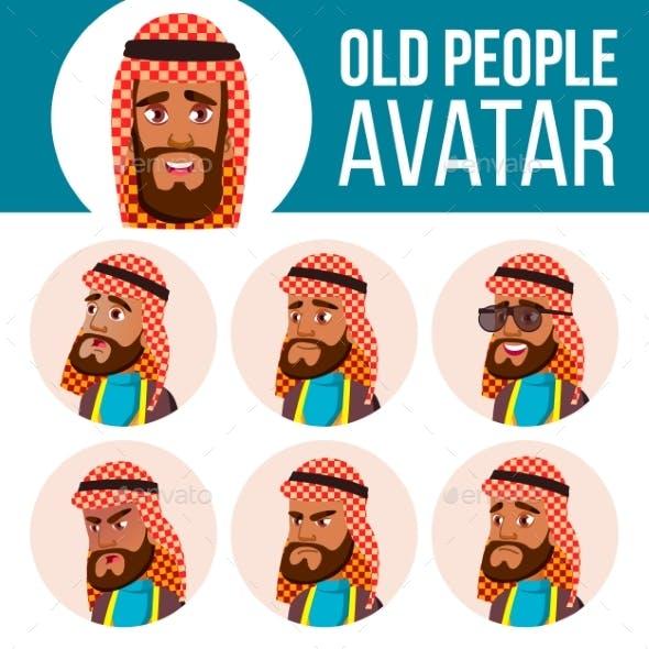Arab, Muslim Old Man Avatar Set Vector. Face