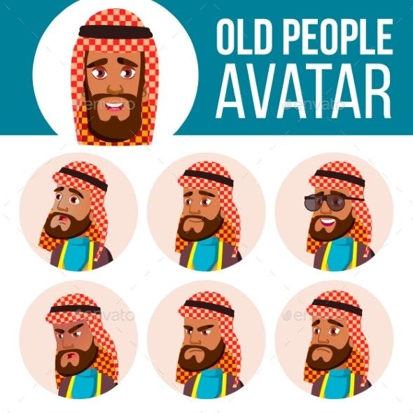 Arab, Muslim Old Man Avatar Set Vector. Face - People Characters