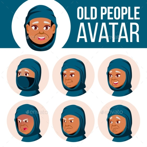 Arab, Muslim Old Woman Avatar Set Vector. Face - People Characters
