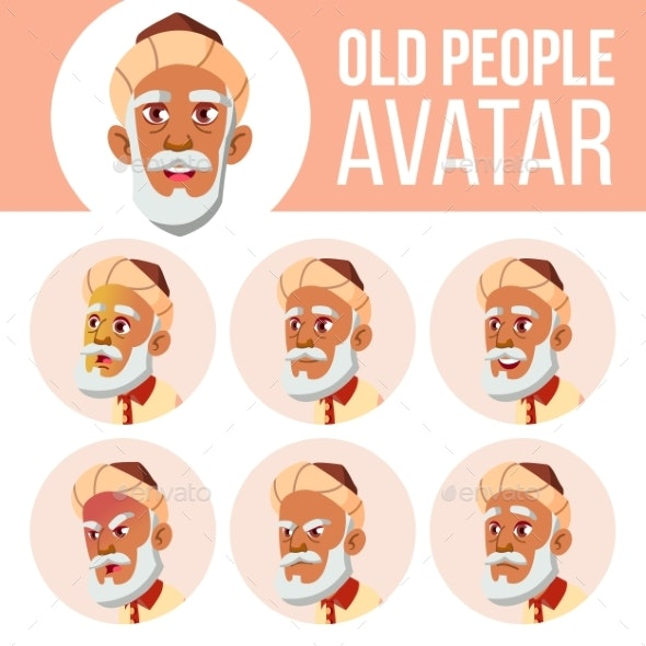 Arab, Muslim Old Man Avatar Set Vector. Face - People Characters