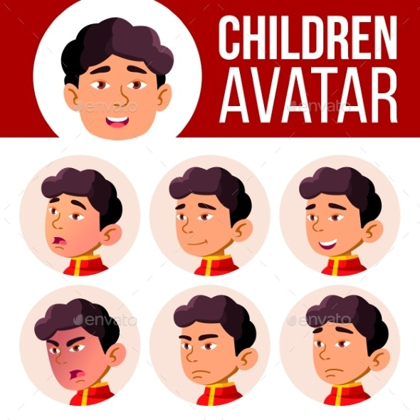 Asian Boy Avatar Set Kid Vector. Kindergarten - People Characters