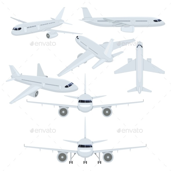 Vector Set of Flat Plane Illustrations - Miscellaneous Vectors