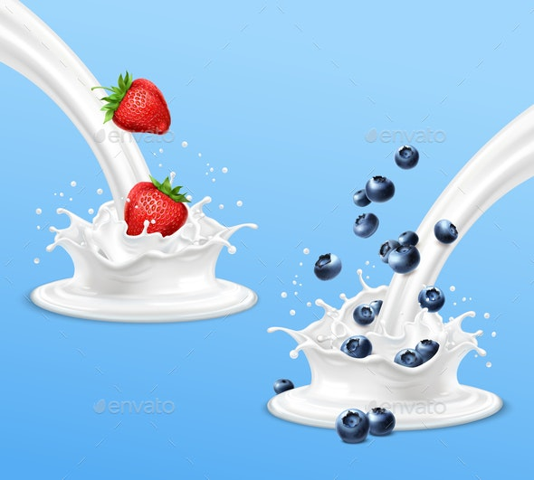 Strawberry and Blueberry Splashing in Milk - Food Objects