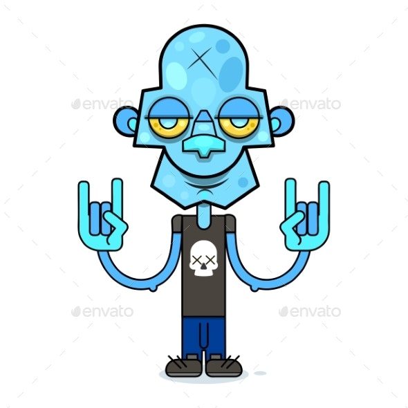 Zombie in a Black T-Shirt with a Skull - Miscellaneous Vectors