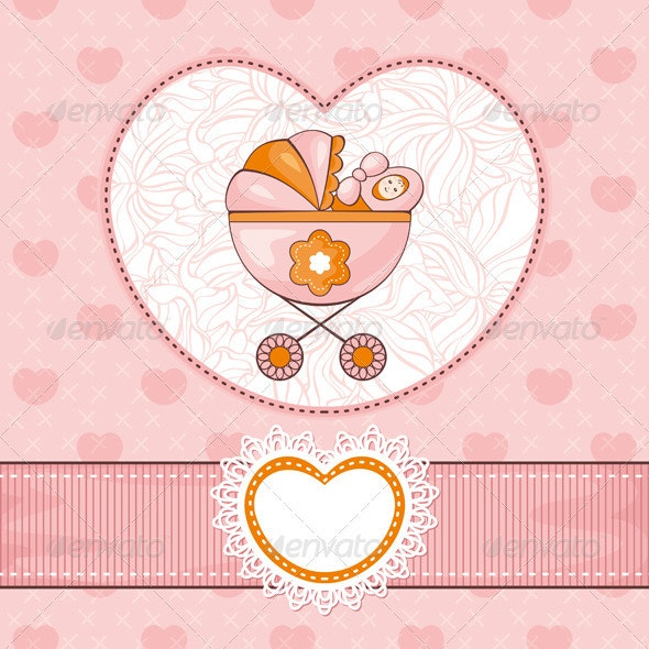 Lovely Baby Card - Borders Decorative