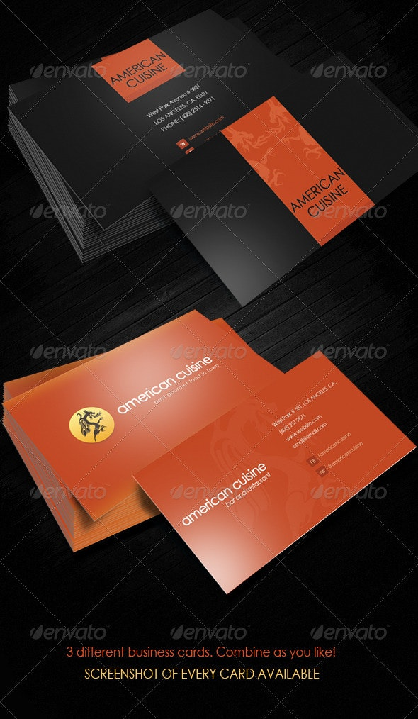 American Cuisine Gourmet Food Business Cards - Business Cards Print Templates