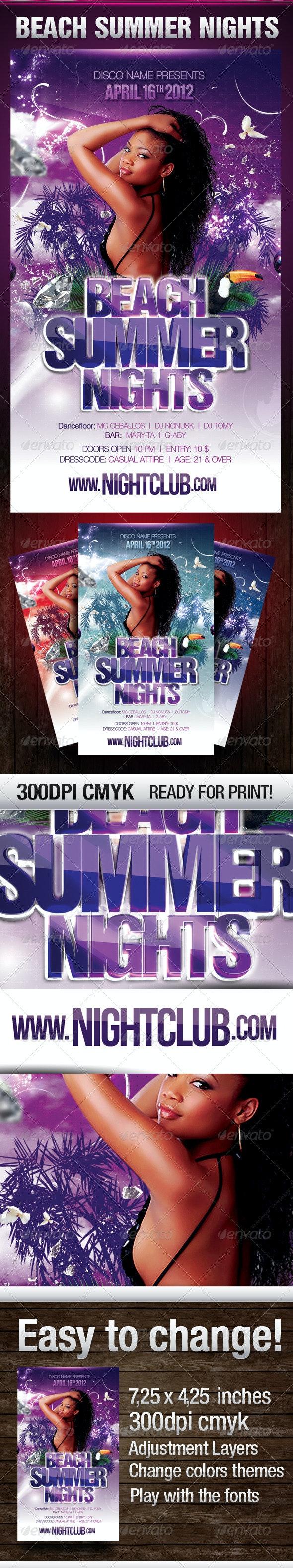 Beach Summer Nights Flyer - Flyers Print Templates