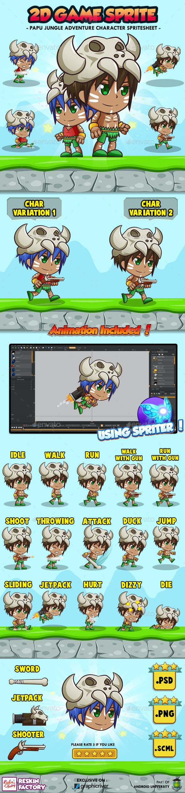 Papu Jungle Adventure - 2D Game Character Sprites - Sprites Game Assets