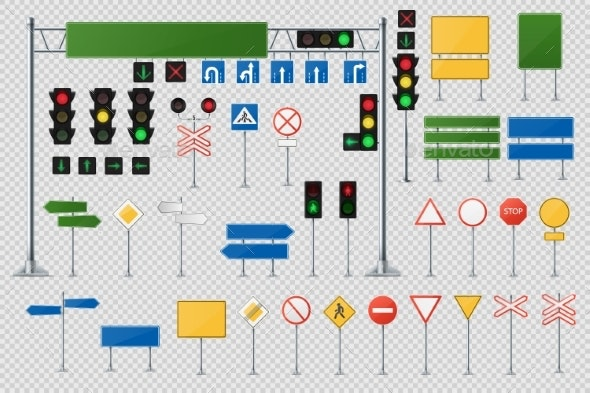 Realistic Set of Road Signs and Traffic Lights - Man-made Objects Objects