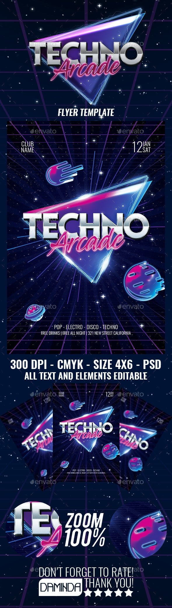Techno Arcade New Flyer Template - Clubs & Parties Events