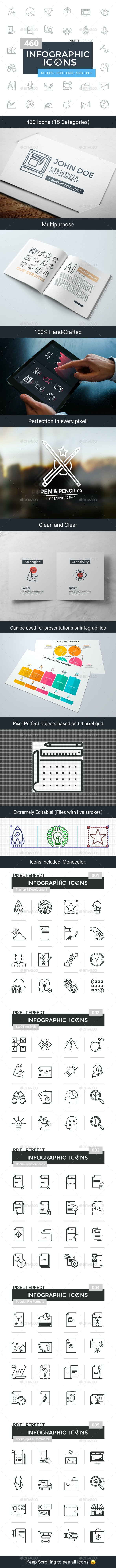460 Infographic Icons. Collection 1 - Business Icons