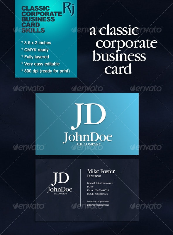 Classic Corporate Business Card - Corporate Business Cards
