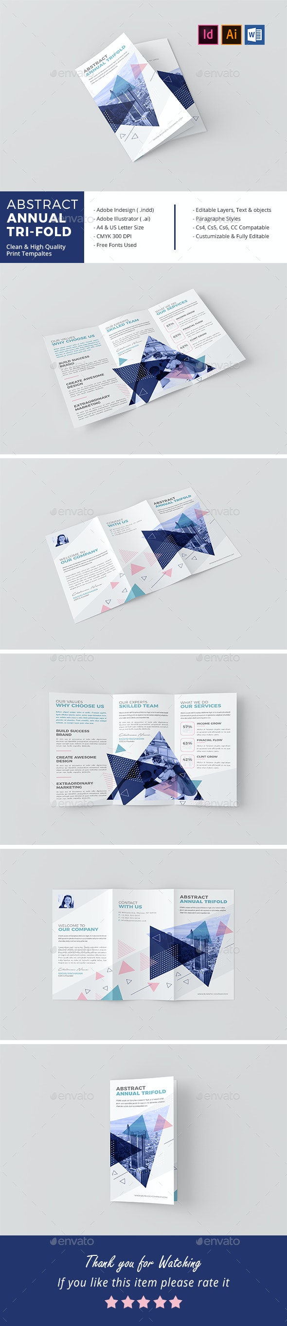 Abstract Annual Tri-Fold - Corporate Brochures