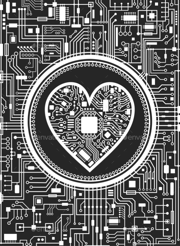 Valentines Day Black and White Background - Computers Technology