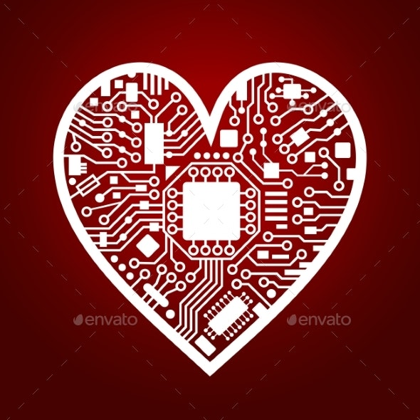 Valentines Day Red Background with Cyber Heart - Computers Technology