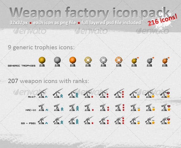 Weapon Icons and Trophies for Military Ranks - Man-made objects Objects