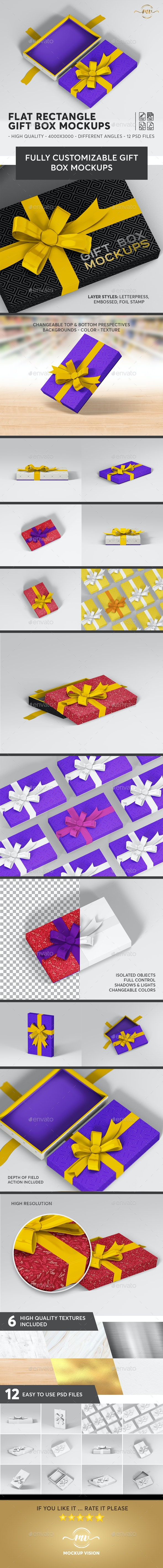 Gift Box Flat Rectangle Mockups - Miscellaneous Packaging