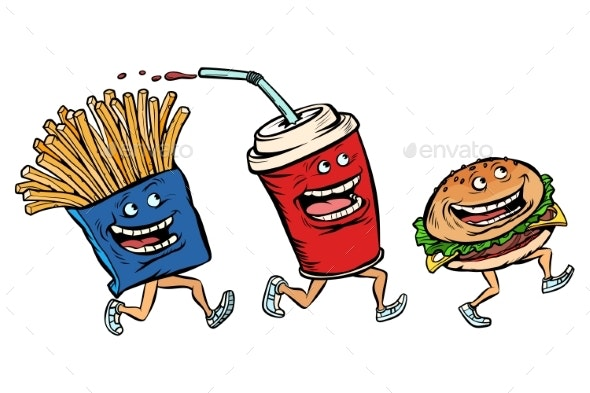 Characters Set Fast Food French Fries Cola Burger - Food Objects