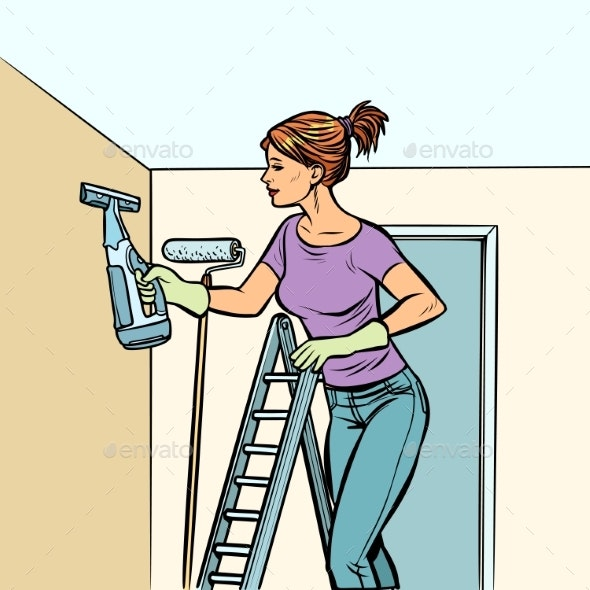Home Cleaning, Woman and Spray of Water - People Characters
