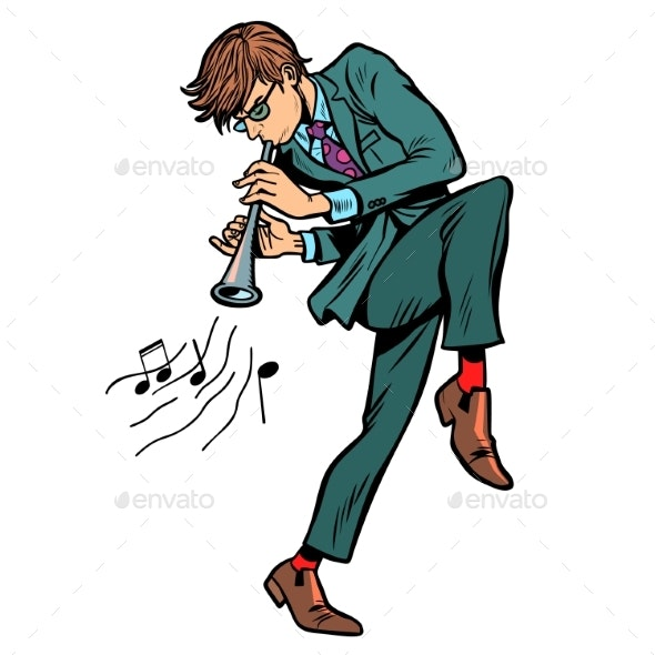 Man Playing the Horn - People Characters