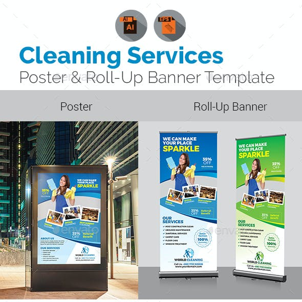 Cleaning Signage Bundle Template
