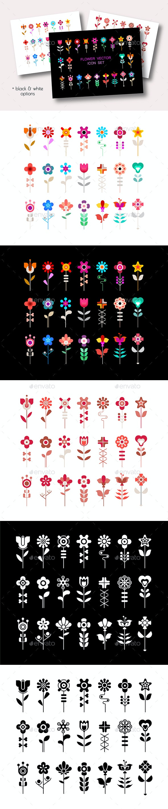 4 Options of a Flower Vector Icon Set - Icons