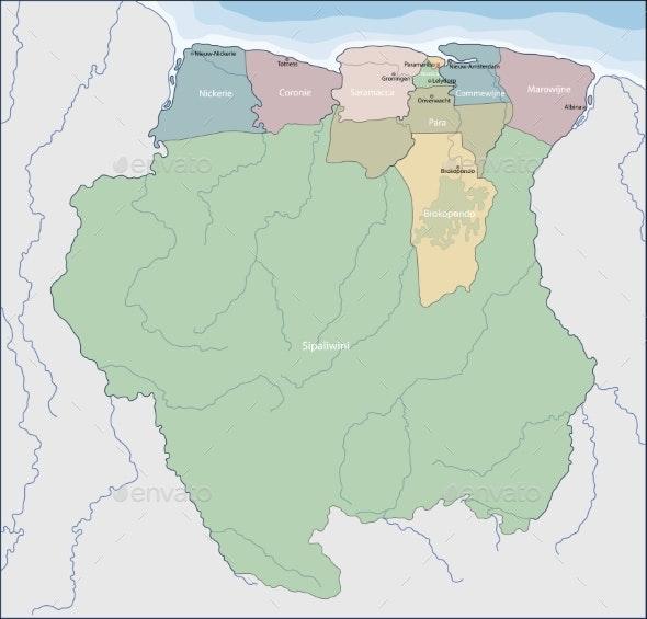 Map of Suriname - Miscellaneous Vectors