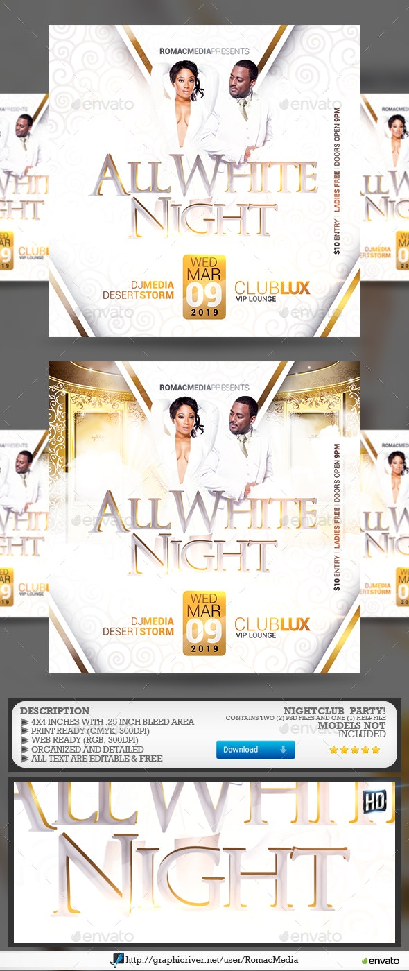 All White Night Party Flyer - Clubs & Parties Events