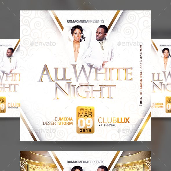 All White Night Party Flyer
