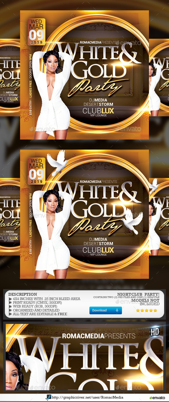White and Gold Birthday Flyer - Clubs & Parties Events