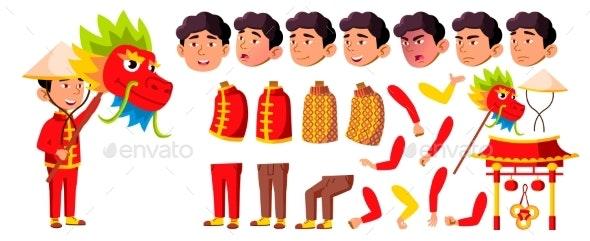 Asian Boy Kindergarten Kid Vector. Animation - People Characters