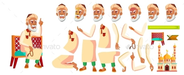 Arab, Muslim Old Man Vector. Senior Person - People Characters