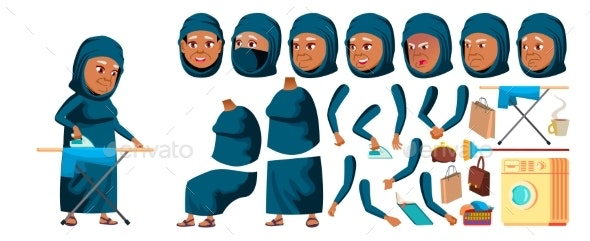 Arab, Muslim Old Woman Vector. Senior Person - People Characters