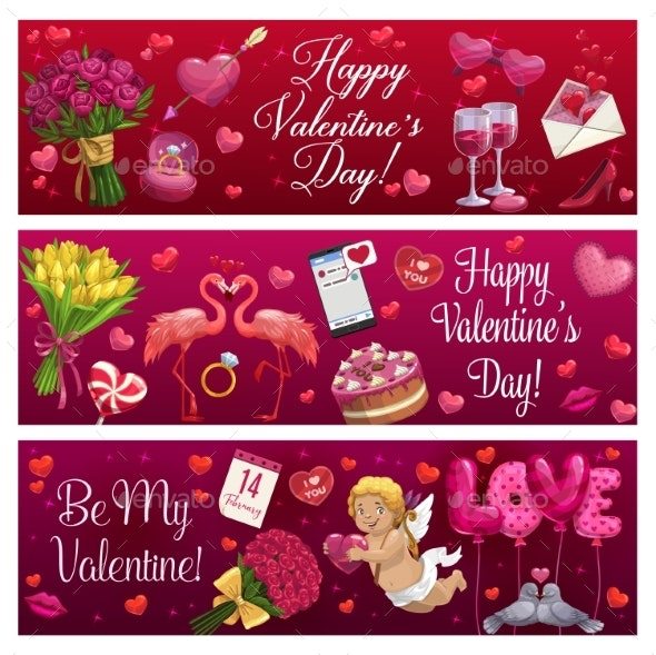 Valentines Day Love Holiday Hearts, Gifts and Ring - Valentines Seasons/Holidays
