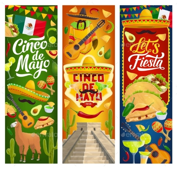 Mexican Cinco De Mayo Holiday Party Fiesta Banners - Seasons/Holidays Conceptual