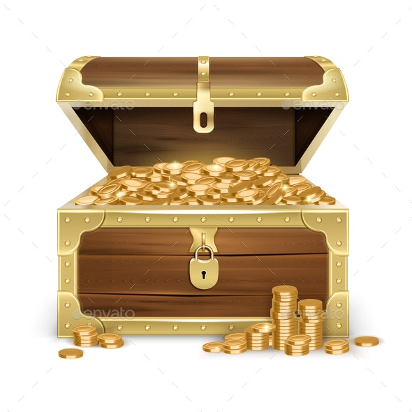 Realistic Wooden Chest With Coins - Backgrounds Decorative