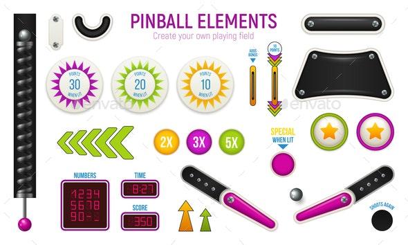 Pinball Horizontal Icon Set - Miscellaneous Vectors