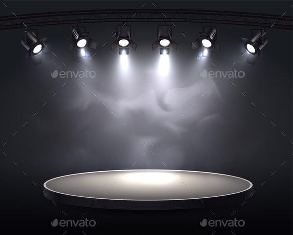 Smoky Spotlights Realistic Composition - Miscellaneous Vectors