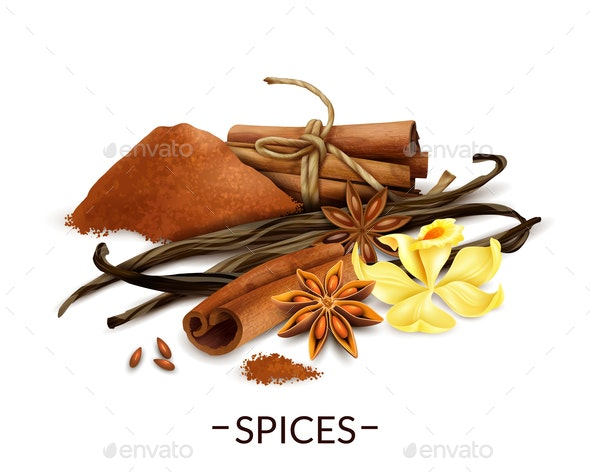 Realistic Spices Set - Food Objects