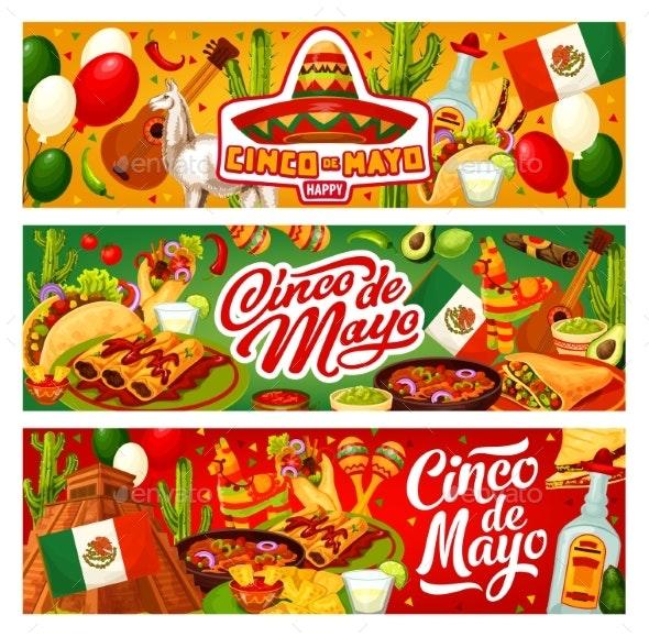 Cinco De Mayo Mexican Flag, Sombrero and Tequila - Seasons/Holidays Conceptual